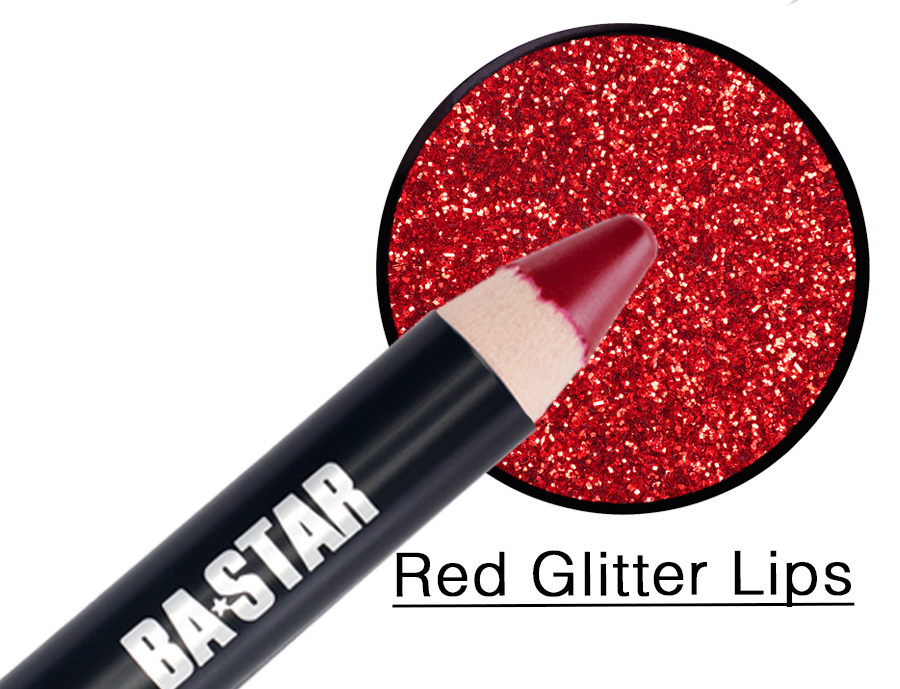 Red Lip Pencil & Glitter Makeup Kit